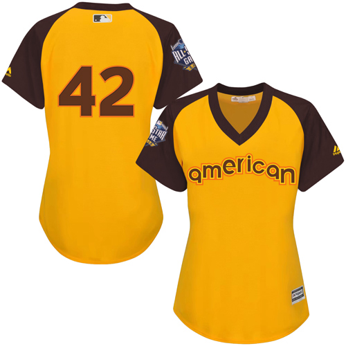 Women's Majestic Los Angeles Dodgers #42 Jackie Robinson Authentic Yellow 2016 All-Star American League BP Cool Base MLB Jersey
