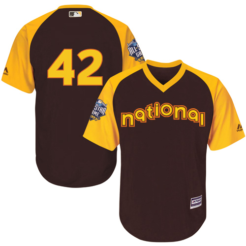 Youth Majestic Los Angeles Dodgers #42 Jackie Robinson Authentic Brown 2016 All-Star National League BP Cool Base MLB Jersey