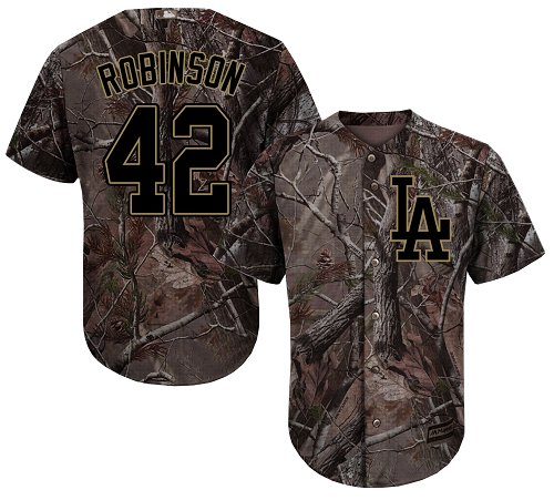 Youth Majestic Los Angeles Dodgers #42 Jackie Robinson Authentic Camo Realtree Collection Flex Base MLB Jersey