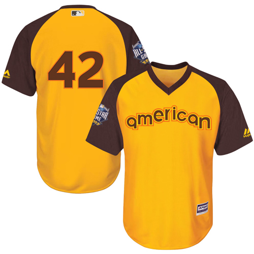 Youth Majestic Los Angeles Dodgers #42 Jackie Robinson Authentic Yellow 2016 All-Star American League BP Cool Base MLB Jersey