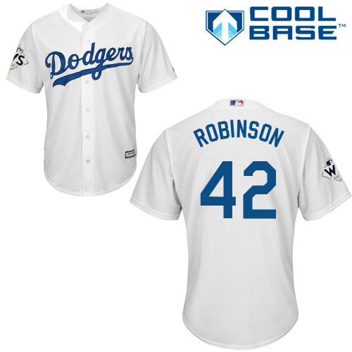 Youth Majestic Los Angeles Dodgers #42 Jackie Robinson Replica White Home 2017 World Series Bound Cool Base MLB Jersey