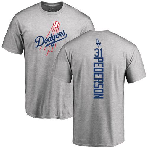 MLB Nike Los Angeles Dodgers #31 Joc Pederson Ash Backer T-Shirt