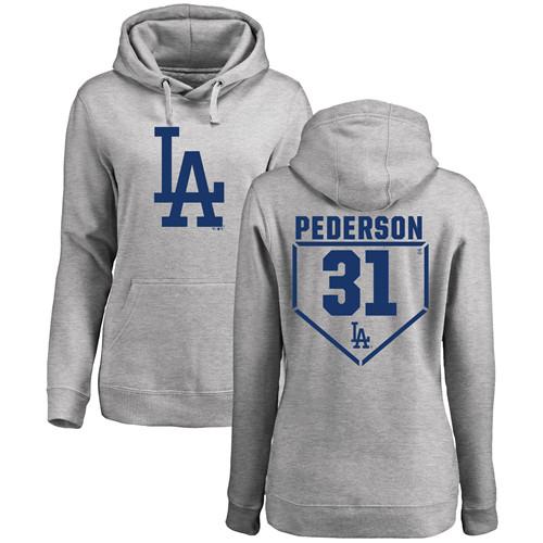 MLB Women's Nike Los Angeles Dodgers #31 Joc Pederson Gray RBI Pullover Hoodie