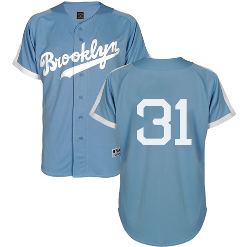 Men's Majestic Los Angeles Dodgers #31 Joc Pederson Authentic Light Blue Cooperstown MLB Jersey