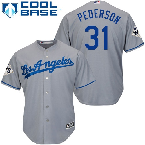 Men's Majestic Los Angeles Dodgers #31 Joc Pederson Replica Grey Road 2017 World Series Bound Cool Base MLB Jersey