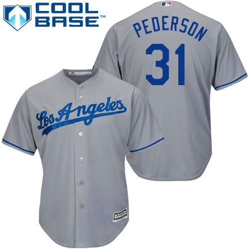 Men's Majestic Los Angeles Dodgers #31 Joc Pederson Replica Grey Road Cool Base MLB Jersey
