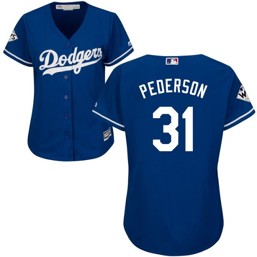 Women's Majestic Los Angeles Dodgers #31 Joc Pederson Authentic Royal Blue Alternate 2017 World Series Bound Cool Base MLB Jersey