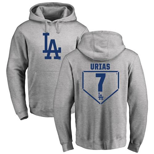 MLB Nike Los Angeles Dodgers #7 Julio Urias Gray RBI Pullover Hoodie