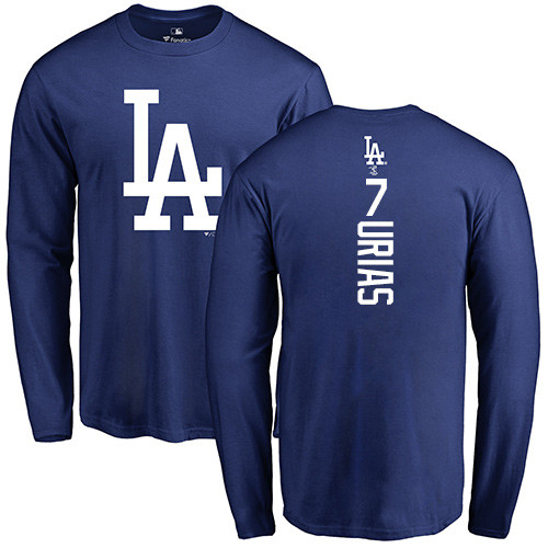 MLB Nike Los Angeles Dodgers #7 Julio Urias Royal Blue Backer Long Sleeve T-Shirt