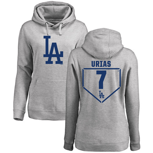 MLB Women's Nike Los Angeles Dodgers #7 Julio Urias Gray RBI Pullover Hoodie