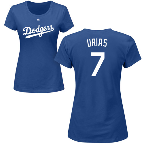 MLB Women's Nike Los Angeles Dodgers #7 Julio Urias Royal Blue Name & Number T-Shirt
