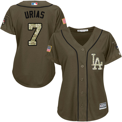 Women's Majestic Los Angeles Dodgers #7 Julio Urias Authentic Green Salute to Service MLB Jersey