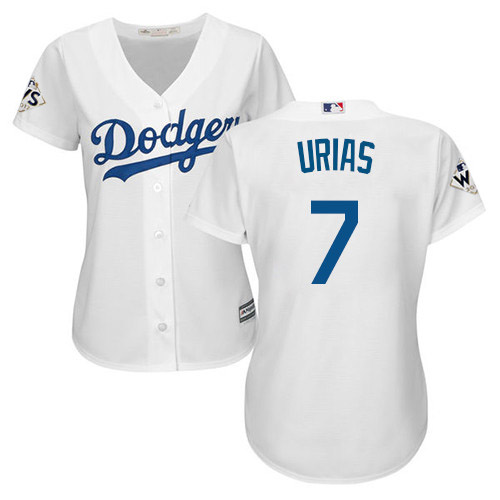 Women's Majestic Los Angeles Dodgers #7 Julio Urias Replica White Home 2017 World Series Bound Cool Base MLB Jersey
