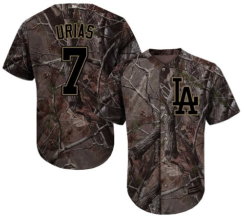 Youth Majestic Los Angeles Dodgers #7 Julio Urias Authentic Camo Realtree Collection Flex Base MLB Jersey
