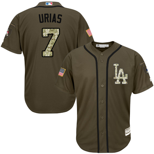 Youth Majestic Los Angeles Dodgers #7 Julio Urias Authentic Green Salute to Service MLB Jersey