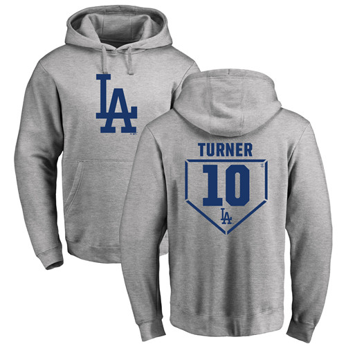 MLB Nike Los Angeles Dodgers #10 Justin Turner Gray RBI Pullover Hoodie