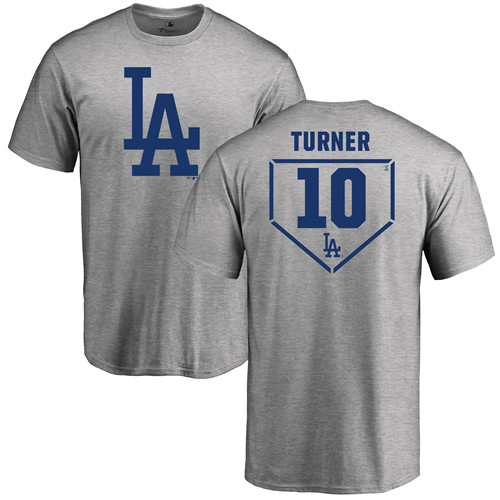 MLB Nike Los Angeles Dodgers #10 Justin Turner Gray RBI T-Shirt