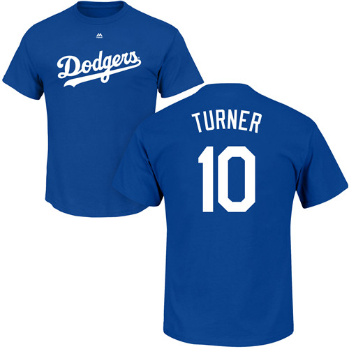 MLB Nike Los Angeles Dodgers #10 Justin Turner Royal Blue Name & Number T-Shirt