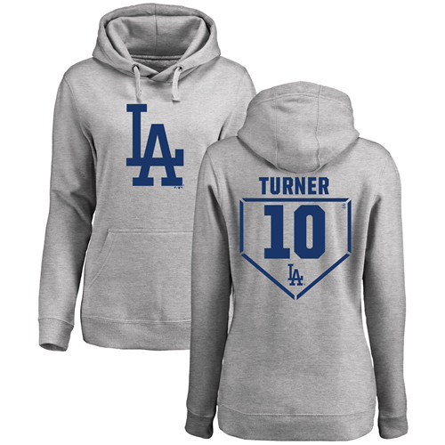 MLB Women's Nike Los Angeles Dodgers #10 Justin Turner Gray RBI Pullover Hoodie