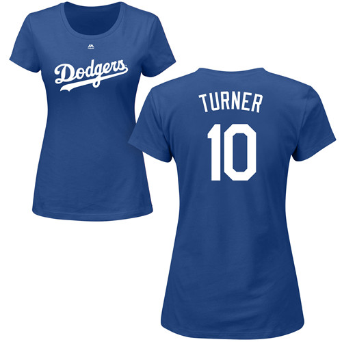 MLB Women's Nike Los Angeles Dodgers #10 Justin Turner Royal Blue Name & Number T-Shirt