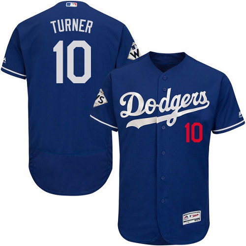 Men's Majestic Los Angeles Dodgers #10 Justin Turner Authentic Royal Blue Alternate 2017 World Series Bound Flex Base MLB Jersey