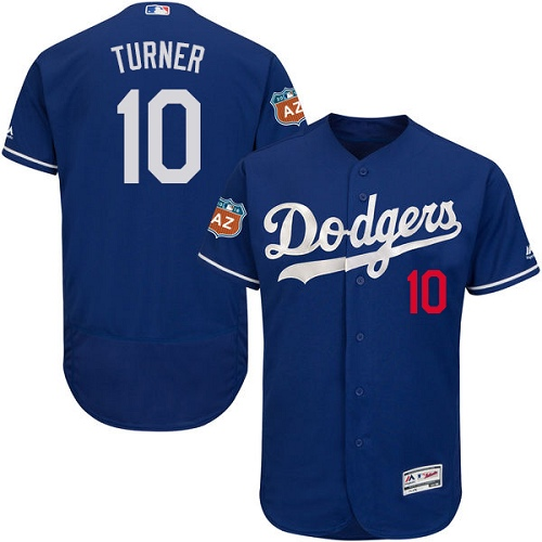 Men's Majestic Los Angeles Dodgers #10 Justin Turner Authentic Royal Blue Alternate Cool Base MLB Jersey