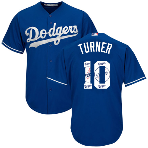 Men's Majestic Los Angeles Dodgers #10 Justin Turner Authentic Royal Blue Team Logo Fashion Cool Base MLB Jersey