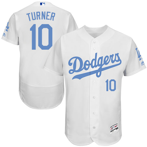 Men's Majestic Los Angeles Dodgers #10 Justin Turner Authentic White 2016 Father's Day Fashion Flex Base MLB Jersey