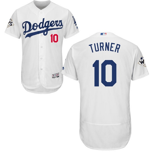 Men's Majestic Los Angeles Dodgers #10 Justin Turner Authentic White Home 2017 World Series Bound Flex Base MLB Jersey