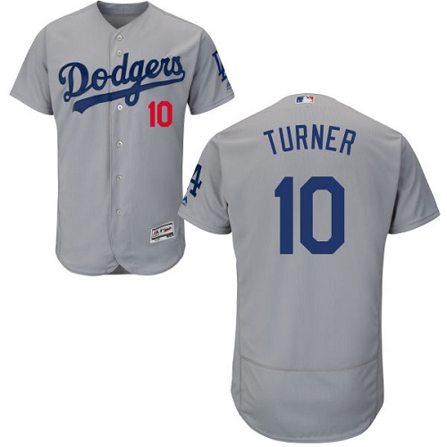 Men's Majestic Los Angeles Dodgers #10 Justin Turner Gray Alternate Road Flexbase Authentic Collection MLB Jersey