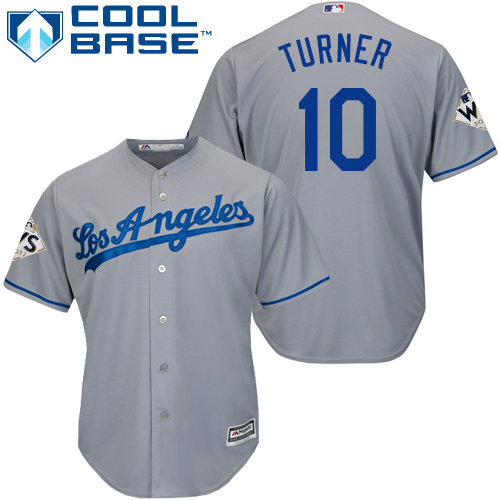 Men's Majestic Los Angeles Dodgers #10 Justin Turner Replica Grey Road 2017 World Series Bound Cool Base MLB Jersey