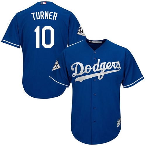 Men's Majestic Los Angeles Dodgers #10 Justin Turner Replica Royal Blue Alternate 2017 World Series Bound Cool Base MLB Jersey