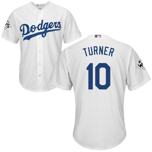 Men's Majestic Los Angeles Dodgers #10 Justin Turner Replica White Home 2017 World Series Bound Cool Base MLB Jersey