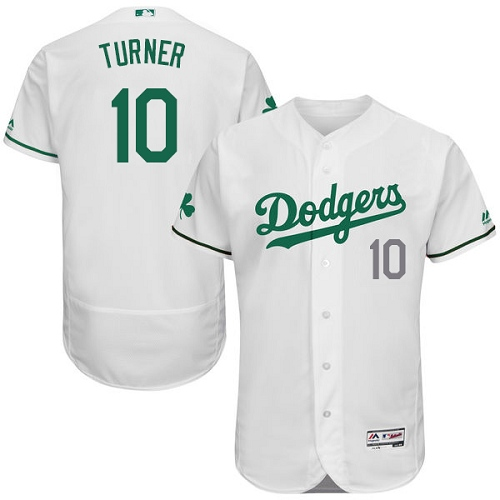 Men's Majestic Los Angeles Dodgers #10 Justin Turner White Celtic Flexbase Authentic Collection MLB Jersey