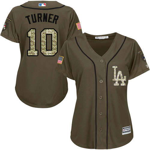 Women's Majestic Los Angeles Dodgers #10 Justin Turner Authentic Green Salute to Service MLB Jersey