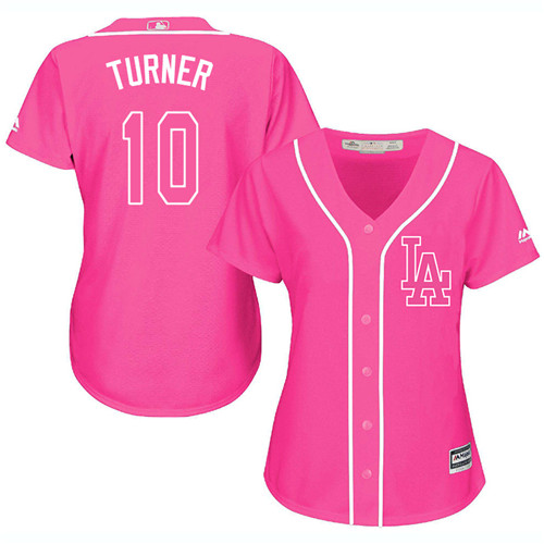 Women's Majestic Los Angeles Dodgers #10 Justin Turner Authentic Pink Fashion Cool Base MLB Jersey