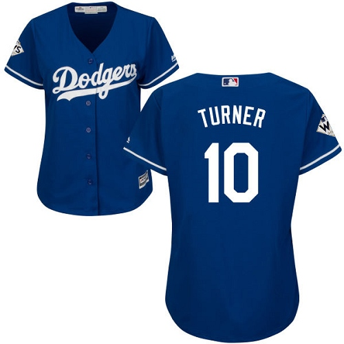 Women's Majestic Los Angeles Dodgers #10 Justin Turner Authentic Royal Blue Alternate 2017 World Series Bound Cool Base MLB Jersey