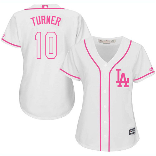 Women's Majestic Los Angeles Dodgers #10 Justin Turner Authentic White Fashion Cool Base MLB Jersey