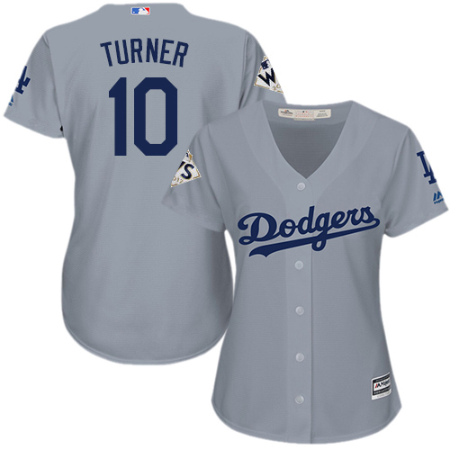 Women's Majestic Los Angeles Dodgers #10 Justin Turner Replica Grey Road 2017 World Series Bound Cool Base MLB Jersey