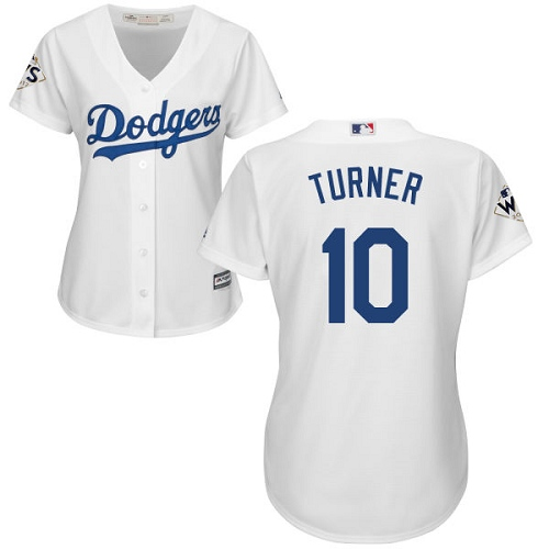 Women's Majestic Los Angeles Dodgers #10 Justin Turner Replica White Home 2017 World Series Bound Cool Base MLB Jersey