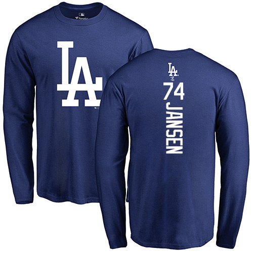MLB Nike Los Angeles Dodgers #74 Kenley Jansen Royal Blue Backer Long Sleeve T-Shirt