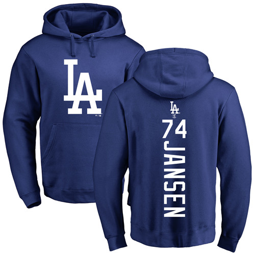 MLB Nike Los Angeles Dodgers #74 Kenley Jansen Royal Blue Backer Pullover Hoodie