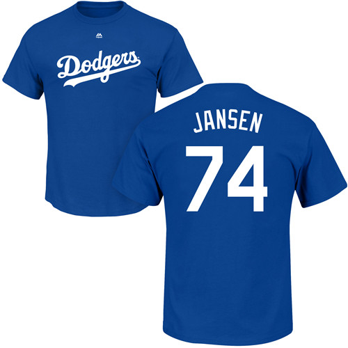 MLB Nike Los Angeles Dodgers #74 Kenley Jansen Royal Blue Name & Number T-Shirt