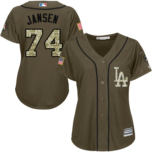 Women's Majestic Los Angeles Dodgers #74 Kenley Jansen Authentic Green Salute to Service MLB Jersey