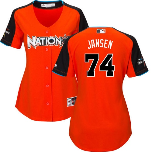 Women's Majestic Los Angeles Dodgers #74 Kenley Jansen Authentic Orange National League 2017 MLB All-Star MLB Jersey