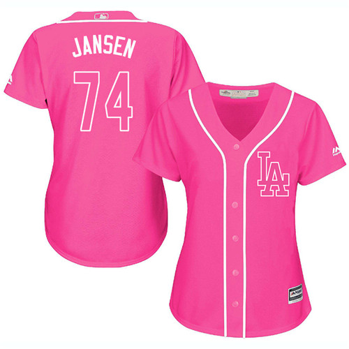 Women's Majestic Los Angeles Dodgers #74 Kenley Jansen Authentic Pink Fashion Cool Base MLB Jersey