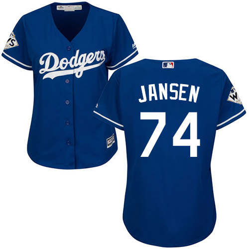 Women's Majestic Los Angeles Dodgers #74 Kenley Jansen Authentic Royal Blue Alternate 2017 World Series Bound Cool Base MLB Jersey