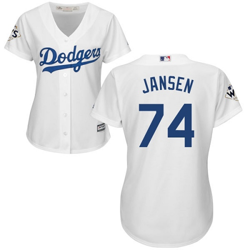 Women's Majestic Los Angeles Dodgers #74 Kenley Jansen Authentic White Home 2017 World Series Bound Cool Base MLB Jersey