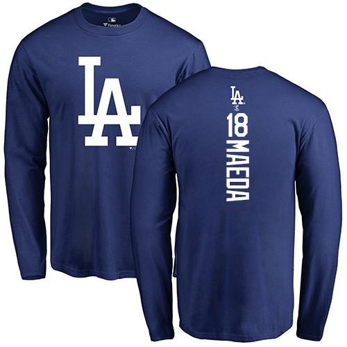 MLB Nike Los Angeles Dodgers #18 Kenta Maeda Royal Blue Backer Long Sleeve T-Shirt