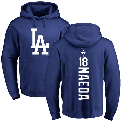MLB Nike Los Angeles Dodgers #18 Kenta Maeda Royal Blue Backer Pullover Hoodie